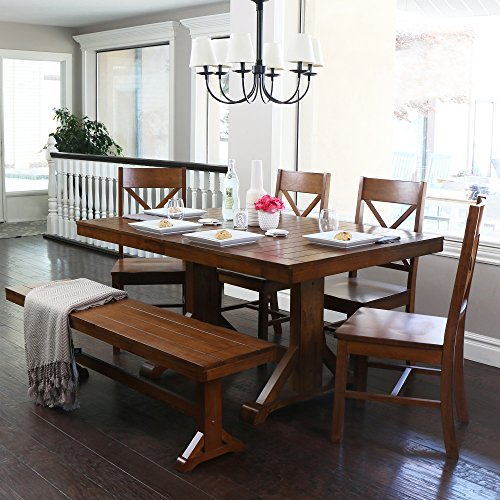6-Piece Solid Wood Dining Set, Antique Brown (60 Inch Trestle Dining Table)