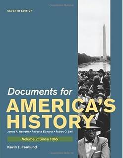 Amazon documents to accompany americas history volume i to documents for americas history volume ii since 1865 fandeluxe Image collections