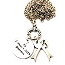 """I Love Someone with Diabetes Awareness Ribbon 18"""" Fashion Necklace"""