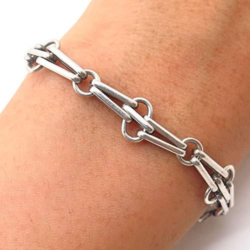 VTG 925 Sterling Silver Modernist Link Bracelet 6 3/4
