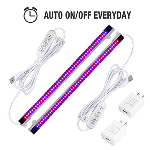 Sondiko LED Grow Light Strip, Full Spectrum Auto On&Off Every Day Grow Light with 48 LEDs 4 Dimmable Levels for Indoor Plants, 2 Pack