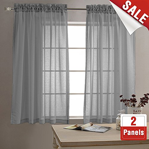Sheer Curtains for Living Room Rod Pocket Grey Curtain Panels for Bedroom 63 inch Length Voile Curtain Set (1 Pair, Gray)