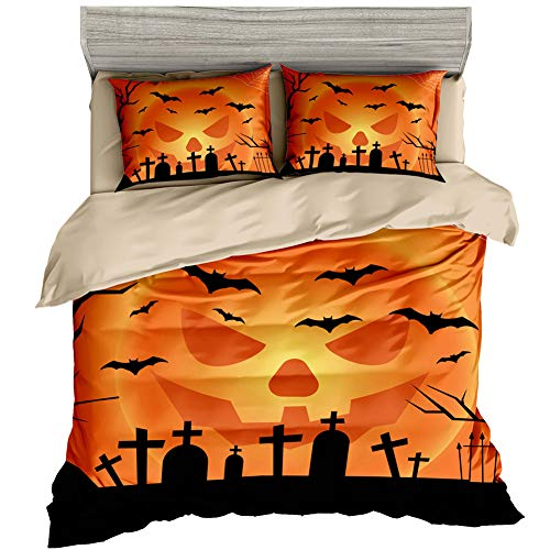 LHALLOWEEN Halloween Duvet Cover Set Super Soft and Cosy Gloomy Castle Theme Bedding Set Including Pillowcases Bedding Sets Double 180cm x 210cm
