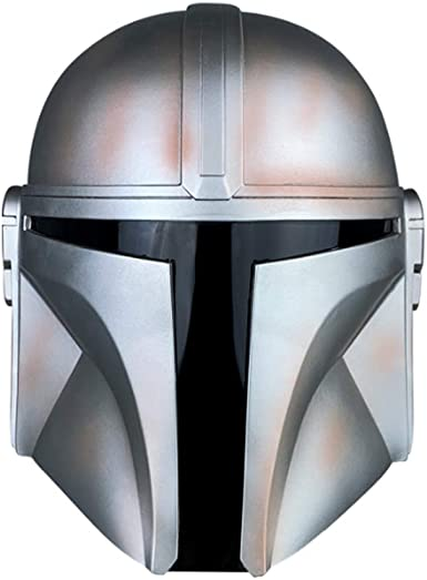 Hongzhi Craft Mandalorian Helmet Replica Full Head Mask Cosplay Costume for Adult Silver