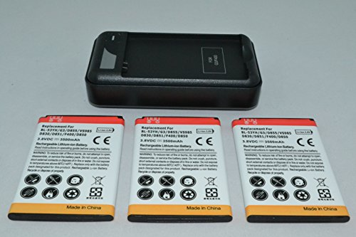 3 x 3500mAh Batteries and Charger for LG G3 Compatible Models: BL-53YH, VS985, D830, D850, D851, D855, LS990, D690, D690N, D693, D693N, D855AR, D855K, D855P, EAC62378905, F400, G3, LS990, LS990 LTE
