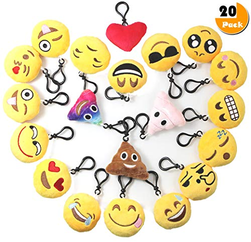 Emoji Keychain Plush Mini Pillow Kids Decoration, Birthday Party Supplies Favor for Girl and Boy, 20 Pack Emoji-Pop Key Chain Pendant, Emoticon Cushion Goody Bag Stuffed Toy, Backpack Clip& Wall Decor -