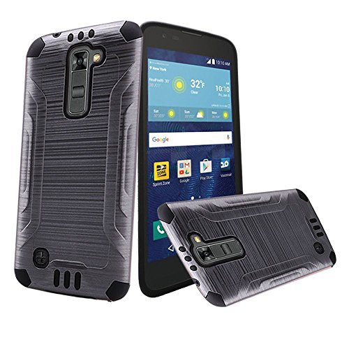 Gray Brushed Metallic Designer Hybrid Premium Dual Case Cover for LG Treasure (L51AL) (L52VL) (L51G) (Straight Talk, Net10, Tracfone, Walmart) with Free Gift Reliable Accessory (Wal Mart Cell Phone Cases)