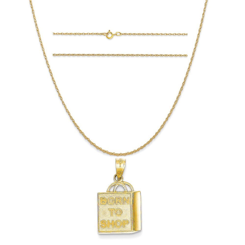 14k Yellow Gold Shopping Bag ''Born To Shop'' Pendant on 14K Yellow Gold Rope Chain Necklace, 18''