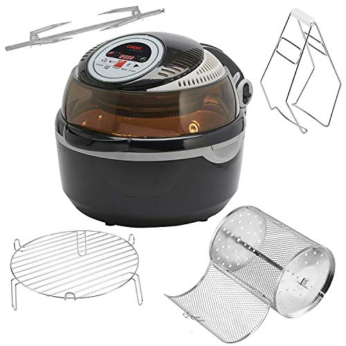 Cooks Professional Air Fryer Halogen Oven Rotisserie with Digital LCD Display, Healthy Oil Free Low Fat Cooking, 10L 1300W (with 6 Accessories)