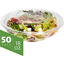 Salad Bowls to go with Lids (50 Pack) - Clear Plastic Disposable Salad Containers   Fresh, Airtight Seal   Rose Bowl Container (18 oz)