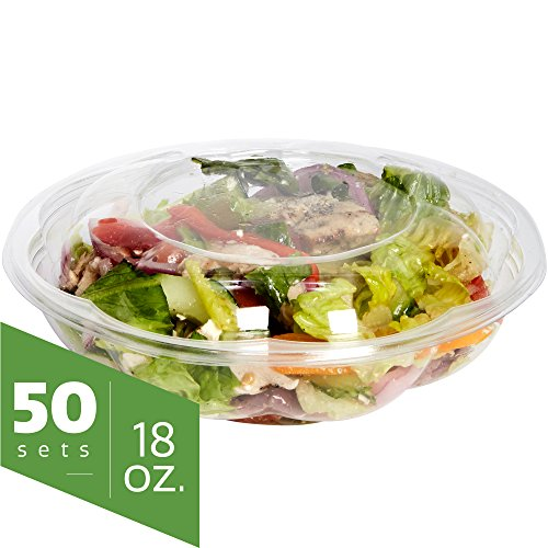 Salad Bowls to go with Lids (50 Pack) - Clear Plastic Disposable Salad Containers | Fresh, Airtight Seal | Rose Bowl Container (18 oz) (Plastic Corp Container)