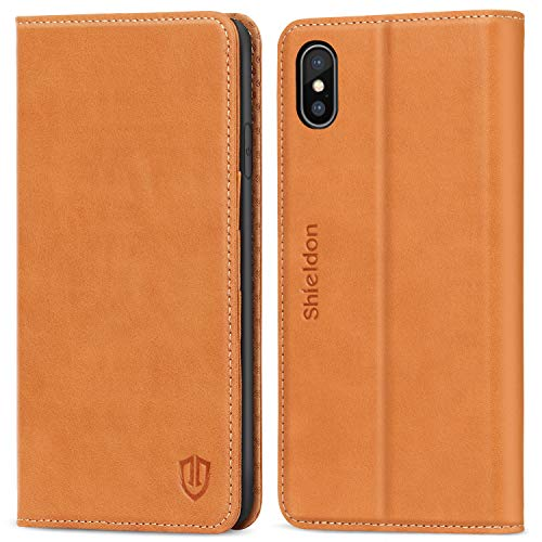 Brown Leather Folio Case - SHIELDON iPhone Xs Max Case, Genuine Leather iPhone Xs Max Wallet Case Support Auto Wake/Sleep RFID Protective Card Holder Folio Magnetic Stand Cover Compatible with iPhone Xs Max (6.5