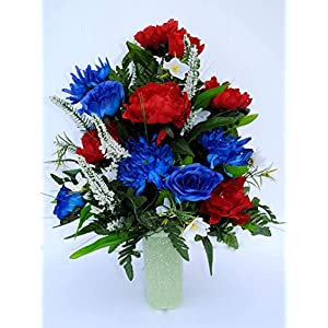 Spring Cemetery Vase Filler with Red and Blue Roses, White accent Flowers, and Blue Spider Lilies for Mother's Day, Memorial Day, July 4th or Father's Day 12