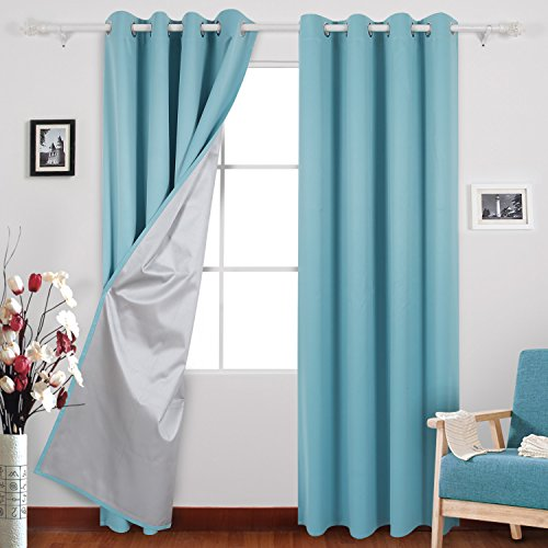 Deconovo Blue Blackout Curtains Blackout Drapes with Backside Silver for Sliding Glass Doors 52 By 95 Inch Light Blue 1 (95 Glasses)
