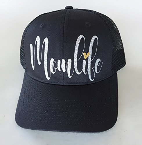 Black Cap, Women's Trucker Hat Momlife Silver Script lettering, by It's Crystalicious