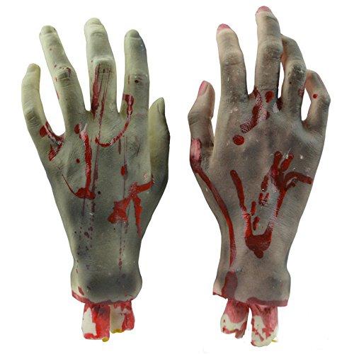 GlowSol 1Pair Horror Trick Toy Scary Prop Vinyl Stump Bloody Cut Hand Bone Halloween Gift Practical Joke Artificial Broken Hand (Gruesome Halloween Ideas)