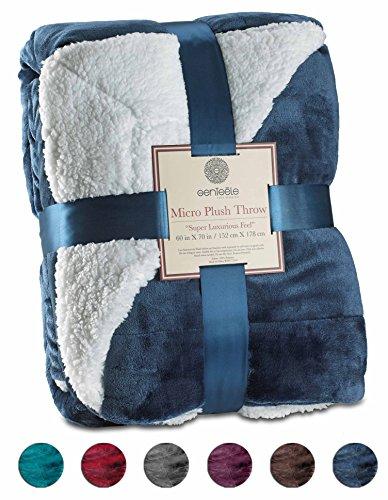 Ultra Gifts Gift Ideas: Genteele Sherpa Throw Blanket Super Soft Reversible Ultra