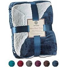 "Sherpa Throw Blanket Ultra Soft Super Luxurious Warm Blanket by Genteele, 60"" X 70"", Navy"