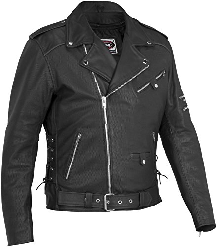 (River Road Ironclad Perforated Leather Jacket , Distinct Name: Black, Apparel Material: Leather, Primary Color: Black, Size: 48, Gender: Mens/Unisex XF-09-3772)