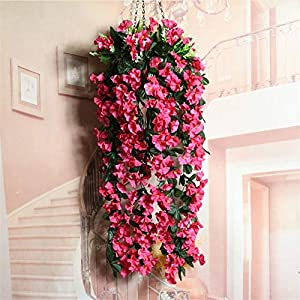 Meitan Artificial Violet Hanging Flower, Silk Violet Flower Garland Hanging Basket Decorative Plant Home Outdoor Wedding Arch Garden Wall Décor (Rose Red) 36