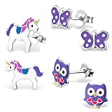 925 Sterling Silver Hypoallergenic Set of 3 Pairs Purple Owl, Butterfly w/ Polka Dots, Unicorn Stud Earrings for Girls (Nickel Free)