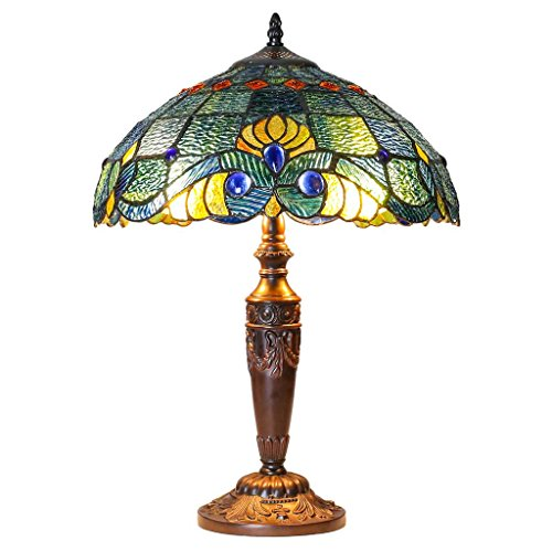 20'' H Tiffany Style Stained Glass Swirling Shells Table Lamp by River of Goods