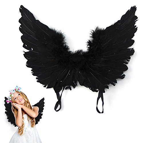Bluecookies Black Feather Angel Wings Cosplay Costume for Kids (Black Feather Wings)