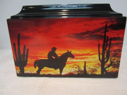 500 Cowboy/Western Horse Sunset Adult Cremation Urn