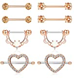 ORAZIO 4 Pairs 14G Stainless Steel Nipplerings Nipple Tongue Rings CZ Opal Barbell Body Piercing Jewelry Rose Gold Tone