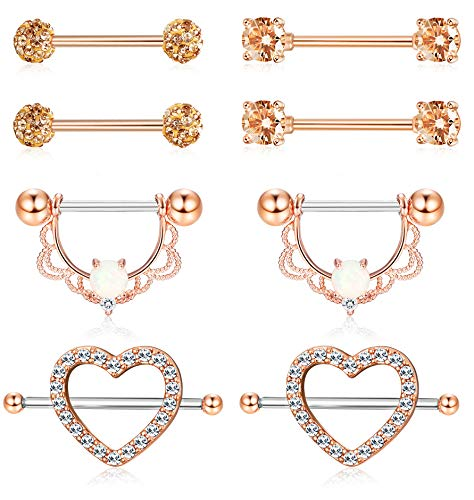 (ORAZIO 4 Pairs 14G Stainless Steel Nipplerings Nipple Tongue Rings CZ Opal Barbell Body Piercing Jewelry Rose Gold Tone)