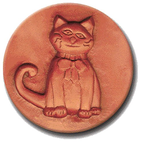 RYCRAFT 2 inch Round Cookie Stamp with Handle & Recipe Booklet-CAT With a BOW