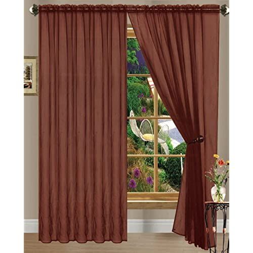 Chocolate Linda Sheer Voile Panel Curtain Drape 60 Inches Wide X 84 Long One Per Package