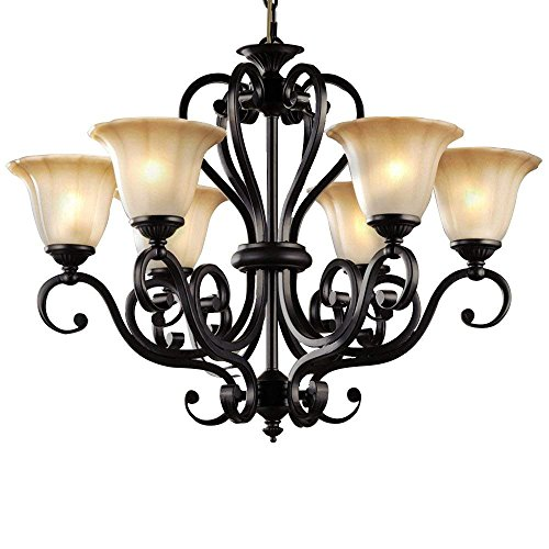- LLYU Antique Finish Black Iron 6 Lights Rustic Chandelier Lighting Glass Shade D28-Inch by H22-Inch