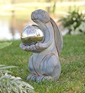 Rabbit With Steel Gazing Ball Garden Art