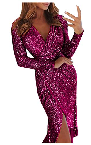 (Fainosmny Womens Gown Dress V Neck Maxi Dress Sequins Wrap Ruched Party Dress Long Sleeve Nightclub Dress Slim Tunic Dress Purple)