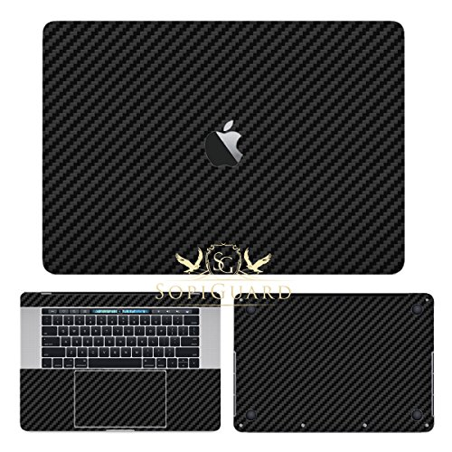 SopiGuard Black Carbon Fiber Full Body Precision Edge-to-Edge Coverage Vinyl Sticker Skin for Apple Macbook Pro 15 Touch Bar (A1707 A1990)