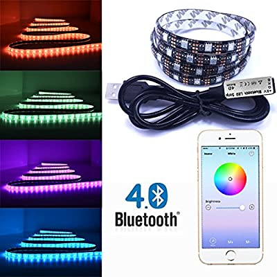 SHYU Bluetooth Smartphone Controlled RGB Color Changing LED Strip - For iPhone, iPad,Android and Amazon Fire Phones and Tablets-5V from SHYU