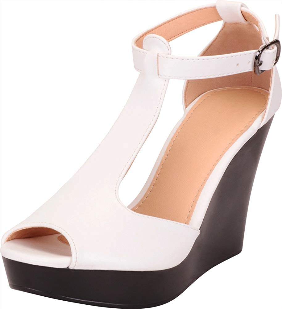 White Pu Cambridge Select Women's Peep Toe T-Strap Chunky Platform Wedge Sandal