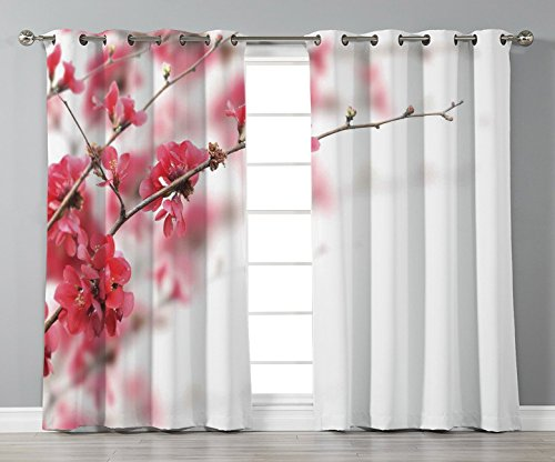 Thermal Insulated Blackout Grommet Window Curtains,Spring,Nature Beauty Cherry