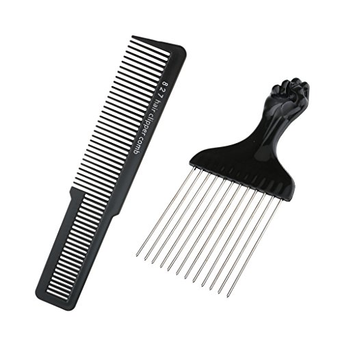CUTICATE 1pcs Stainless Steel Afro Hair Combs Wide Tooth African Pik Comb with Hair Cutting Clipper Comb Hairdressing Styling Tool