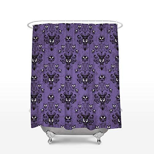 Halloween Shower Curtain Haunted Mansion Bath Curtain Waterproof Fabric Bathroom Decor with Hooks 72x72inch