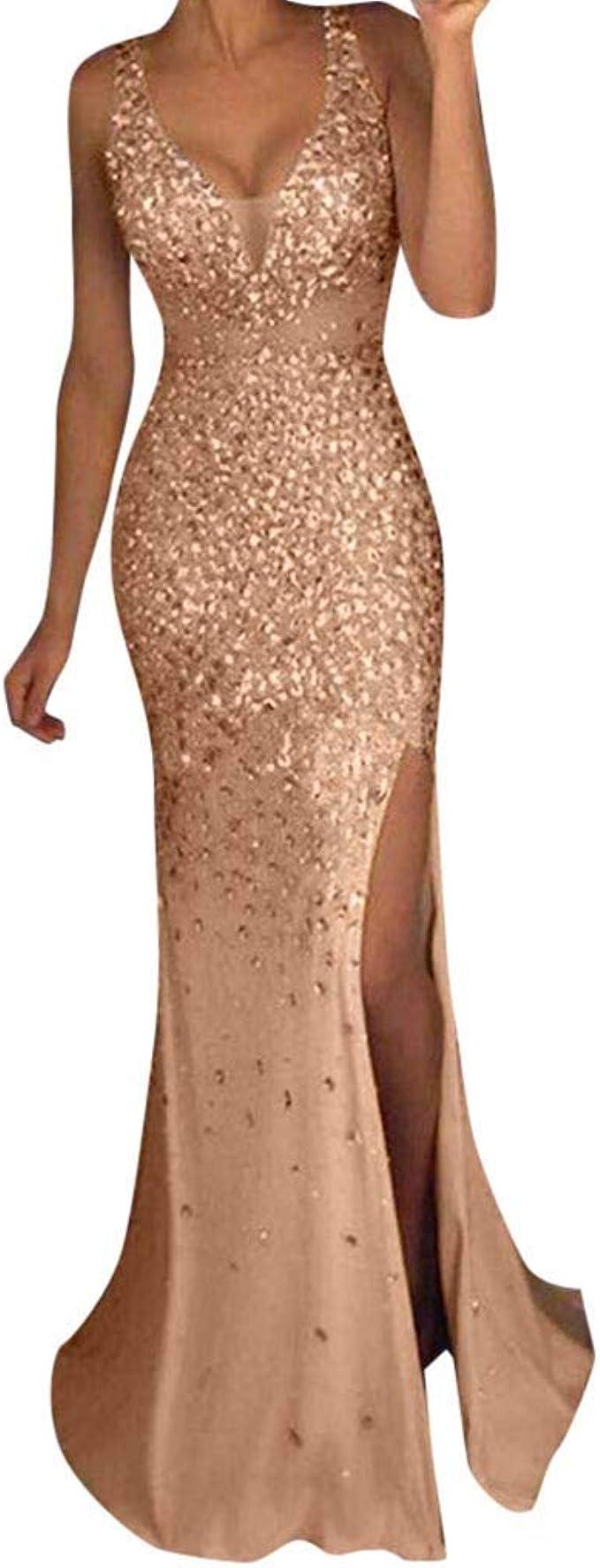 Bumplebee Damen Kleider Sexy Glitzer Abendkleider Lang Gold