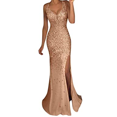 f1313339197 Nevera Women s Sequin Bridesmaid Dress V Neck Sleeveless Maxi Evening Split Prom  Dresses Gold