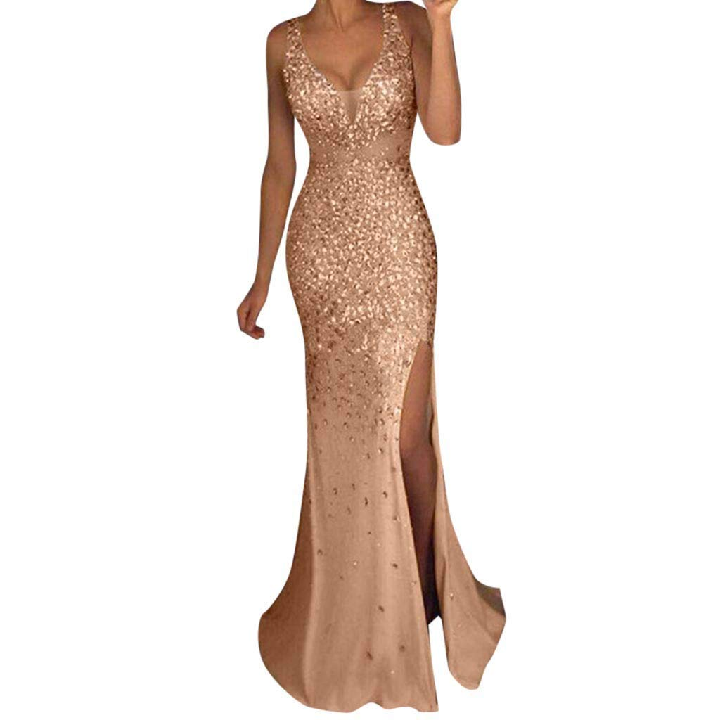 Ladies Summer Hot Drilling Sexy Camisole Slits Tight V-Neck Long Skirt Evening Dress Gold