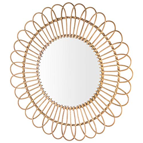 American Art Decor Woven Rattan Sunburst Accent Wall Mirror 25 Brown