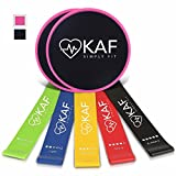 KAF Fitness Premium Set of 5 Resistance bands & 2 Dual-Sided Gliding Discs (Pink) – Intense, Low-Impact Exercises for Core, Glutes, Abdominal Strength and Stability – Work on Any Surface For Sale
