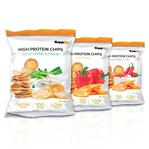 Supplify High Protein Chips Paprika (vegan) Protein Snack Mahlzeit für Sportler als Eiweisspulver Ersatz, Fitness Mahlzeitenersatz,Low Sugar Protein Food Snack mit 100% GELD-ZURÜCK-GESCHMACKSGARANTIE! ! 14x 50g Karton = 700g