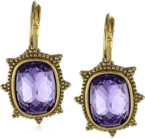 1928 Antiquities Purple & Gold Tone L'aura Pourpre Tanzanite Hue Earrings