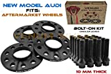 4Pc New Model Audi Wheel Spacers | 10 mm Thick | 5x112mm | 66.6mm | +20 Black Cone Lug Bolts |2009-2019 A4 A5 A6 A7 A8 All Road S4 S5 S6 S7 RS5 RS7 Q5 SQ5 W/Aftermarket Wheels