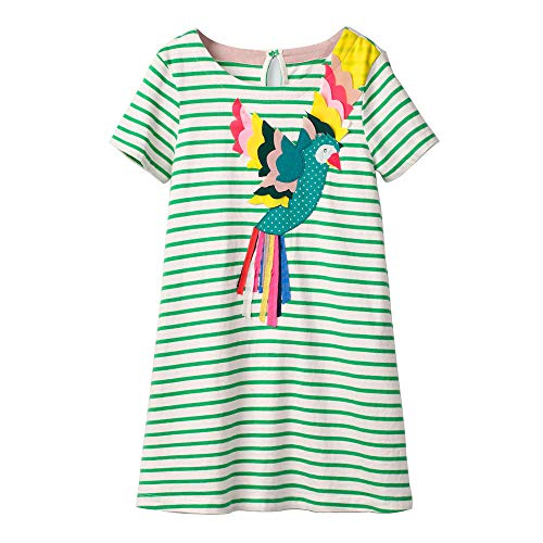 Toddler Girl Stripe Active Short Sleeve Casual Cotton Owl Tunic Shirt Dress Green